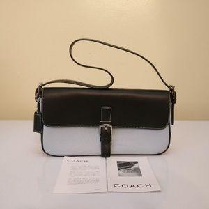 Coach Hampton Flap Black Blue Canvas Shoulder Bag